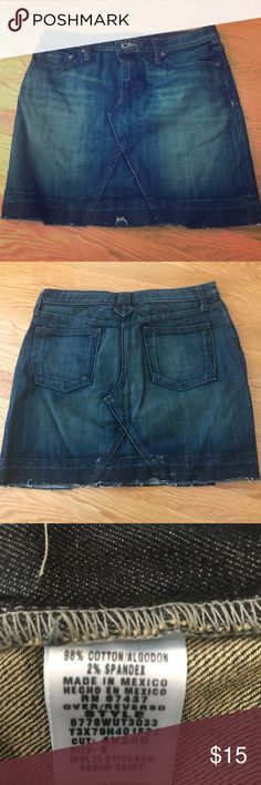 RALPH LAUREN POLO JEANS Distressed Jean Skirt Ralph Lauren/Polo Jeans just know denim. They have the ultimate washes on all of their denim products. This released hem, distressed skirt is amazing. I'm typically a size 4 and this was just a tad too big for me at a size 6. Ralph Lauren Skirts Mini