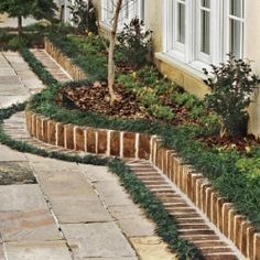Brick Landscape Edging; this would look good bordering the flower bed against the house