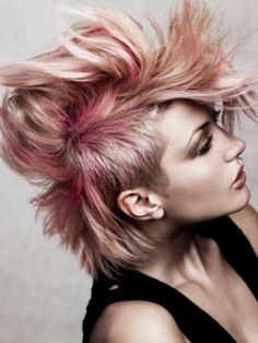 Edgy Pink Messy Hair Style Punk Girl Hairstyles pictures This edgy pink… Hair Styles 2014, Short Hair Styles, Punk Hair Color, Light Blond, Alternative Hair, Layered Haircuts, Short Haircuts, Hair Pictures, Hairstyles Pictures