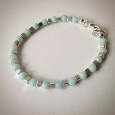Beaded bracelet - Turquoise Malaysian Jade and Silver Cube beads