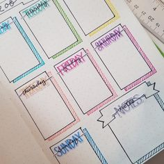 Hand Drawn Bullet Journal (BUJO) Style Weekly Headers for your planner. Each sheet contains 4 sets of Weekday Names and Notes Headers. Each Sticker is approx, inches wide. Due to the hand drawn nature of these stickers the size will have slight variati Bullet Journal School, Bullet Journal Headers, Bullet Journal Banner, Bullet Journal Aesthetic, Bullet Journal Notebook, Bullet Journal Ideas Pages, Bullet Journal Layout, Bullet Journal Inspo, Planner Stickers