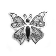 Brooch made by sterling silver and jet, handmade in Galicia with traditional methods. Artcraft of The Way of St.James. Tax free. Made in Spain