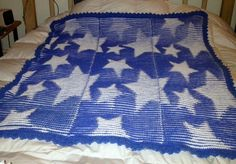Made with 100 Cotton. Pattern is from Ravelry. It's called Star Illusion Blanket. I added a knitted on border.