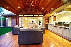 Alfresco area with complete outdoor kitchen New Homes, Outdoor Rooms, Outdoor Living Rooms, Outdoor Kitchen Design, Outdoor Living Design, Outdoor Kitchen, Outdoor Spaces, Outdoor Kitchen Countertops, Alfresco Designs