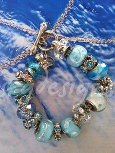 ocean blue troll bead bracelet Pandora Beads, Pandora Bracelets, Pandora Jewelry, Beaded Bracelets, Bracelets Bleus, Metal Beads, Fashion Bracelets, Making Ideas, Jewelery