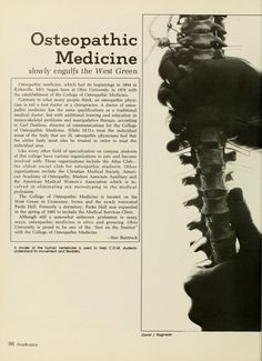 "Athena yearbook, 1984. ""Osteopathic Medicine slowly engulfs the West Green"" :: Ohio University Archives"