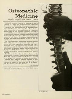 "Athena yearbook, 1984. ""Osteopathic Medicine slowly engulfs the West Green"" :: Ohio University Archives"