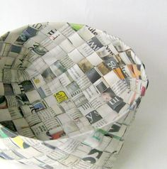 This shabby chic style basket woven out of old newspaper would go great in my dream office I'm designing now.