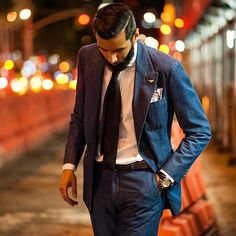Denim suit and bodtail; Very cool!