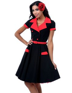 Red and black short sleeved love day dress