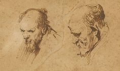 Rembrandt Two Studies of the Head of an Old Man (Getty Museum)