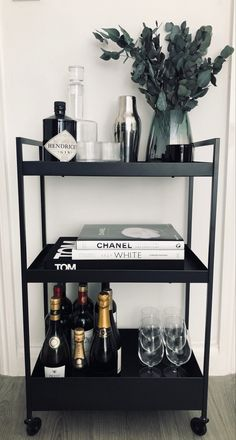 styling our drinks trolley Home Bar Decor, Bar Cart Decor, Home Room Design, Home Interior Design, Ikea Bar, White Toms, Drinks Trolley, Home Bar Designs, Minimalist Room