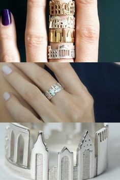 Wear your city proud with these skyline and cityscape rings from Shekhtwoman. Check out more of her stunning location-inspired products in her shop here. Available in gold, silver, bronze, steel and more!