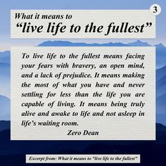 """Excerpt from: What it means to """"live life to the fullest"""""""