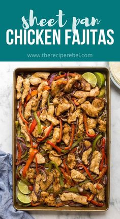 These Sheet Pan Chicken Fajitas are an easy dinner idea, ready in 30 minutes with only one dirty pan! #chicken #chickenrecipe #dinner #chickendinner #recipes | easy dinner ideas | dinner recipes | chicken dinner | chicken recipes | chicken breast | sheet pan meals | sheet pan dinner | one pan Beef Recipes, Mexican Food Recipes, Chicken Recipes, Cooking Recipes, Sausage Recipes, Homemade Fajita Seasoning, Fajita Recipe, One Dish Dinners, Food Dinners