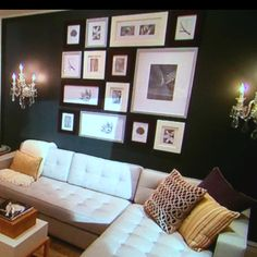 Charcoal Grey Living Room designed by Candice Olsen