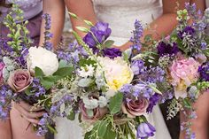 purple bridal bouquets by #finchandthistle  Or, for bridesmaids, go lighter purple, with the dusty rose color, to contrast with darker purple dress?