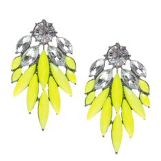Brilliant Blooms - Metal earrings with rhinestones and neon gemstones
