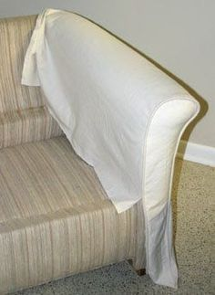 Step Measure, Rough Cut, Pin Welting : The front of the rolled arm is the most noticably detail of a slipcover, so start there to get it . Furniture Fix, Reupholster Furniture, Furniture Slipcovers, Slipcovers For Chairs, Furniture Covers, Upholstered Furniture, Furniture Makeover, Furniture Design, Custom Slipcovers