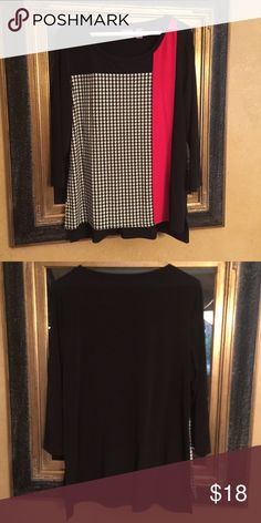 Black Red White Chico's 2/4 sleeved blouse Chico's 2/3 sleeved blouse.  Black red white. Polyester and 5% spandex. Size 1 is equal to size S 8/10 chicos Tops Blouses