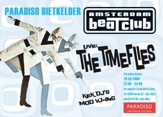 Amsterdam BeatClub at the Paradiso Bietkelder during with 'Kek dj's and Mod vj'ing'. This was after a Claw Boys Claw gig and The Timeflies were playing.