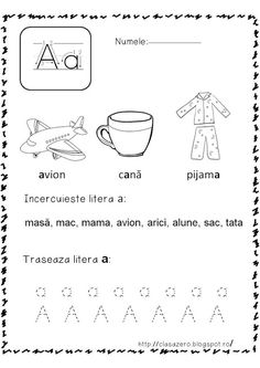 Clasa pregatitoare: Fise de lucru sunetul si litera A Kindergarten Math Worksheets, Kindergarten Reading, Learning The Alphabet, Kids Learning, Exam Study Tips, Youth Activities, School Lessons, Vocabulary Words, Primary School