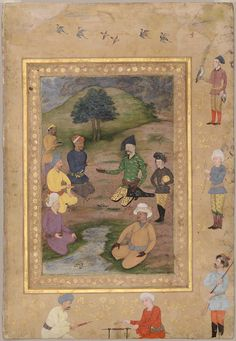 Page from the Late Shah Jahan Album: Khan Alam, Ambassador of Jahangir, with Shah Abbas in a Landscape | Museum of Fine Arts, Boston-Indian, Mughal Mughal period About 1650 Possibly after Bishandas (Indian, active about 1590–1650 Indian)