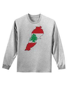 TooLoud Lebanon Flag Silhouette Adult Long Sleeve Shirt