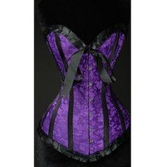 Steel Boned Purple Brocade Romantic Overbust Corset $77.00
