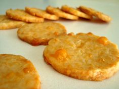 Make and share this Cheddar-Cornmeal Icebox Crackers recipe from Genius Kitchen. Cheese Pennies Recipe, Cheese Coins Recipe, Cheese Dishes, Appetizers For Party, Appetizer Recipes, Brunch Recipes, Snack Recipes, Blueberry Biscuits, Cheese Cookies