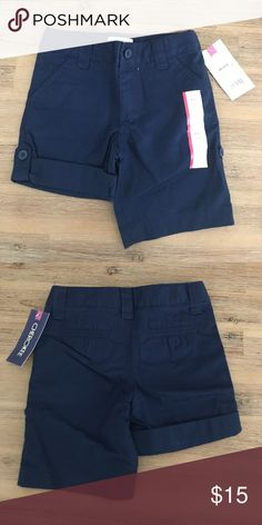 NWT!! Cherokee (set of 2) bermuda navy shorts XS NWT!! Cherokee bermuda navy school uniform shorts (set of 2) XS 4/5 can be worn rolled up with button or all the way down. Cherokee Bottoms Shorts