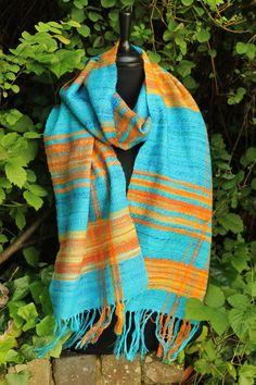 Sunlight  Hand woven scarf featuring hand spun by WarpedandWoven, £110.00