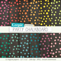 """Chalkboard digital paper: """"PARTY CHALKBOARD"""" digital paper pack - colorful confetti on chalkboard background great for birthday parties by Grepic"""