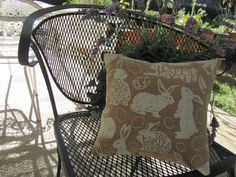 Larger Plump Easter Bunny Burlap Pillow Happy by THISPLUSTHAT