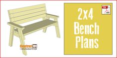 2x4 bench plans, plans include a free PDF download, step-by-step instructions, material list with cutting list and shopping list.