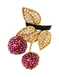 n 18 Karat Yellow Gold, Ruby, Diamond and Enamel Cherries Brooch, Van Cleef & Arpels Paris