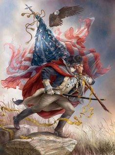 16 x 12 stretched canvas print of President George Washington standing on a rock in uniform wearing a tricorn hat carrying an American flag over his shoulder as an eagle soars above him by artist Tom duBois We only have one of these. American Freedom, American Spirit, American Art, American History, American Pride, British History, Native American, I Love America, God Bless America