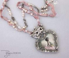 Artisan Jewelry, Mixed Media Necklace Gilded Solder Heart Necklace, Stamped Solder, Ballerina Romantic Jewelry, Unique Jewelry For Her