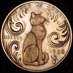 HOWARD THOMAS HOBO PENNY - LINCOLN'S CAT - 1936 LINCOLN WHEAT CENT Custom Coins, Hobo Nickel, Coin Art, Metal Clay Jewelry, Old Coins, Cat Drawing, Coin Collecting, Graphic Design Illustration, Wood Carving