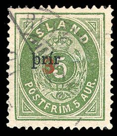 "imageIceland, 1897, small ""þrir"" on ""3"" on 5a green, perf 14x13½ (Facit 32, Scott 32b)"