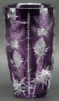 Bohemian Cut Crystal Vase. Amethyst to Clear.