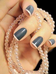 nail polish gray nail art by BeautyLineAda on Etsy, $7.50