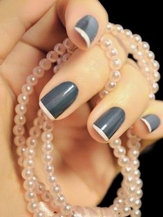nail polish gray nail art by BeautyLineAda on Etsy, $7.50