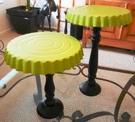 DIY dessert/cake stand...Just spray paint a pie tray, flip it upside-down and glue to a candle stick