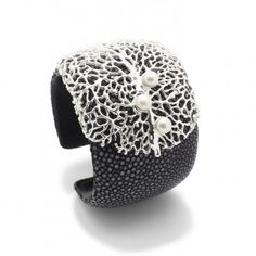 Wide stingray leather cuff with sterling silver filigree design and white fresh water pearls £474