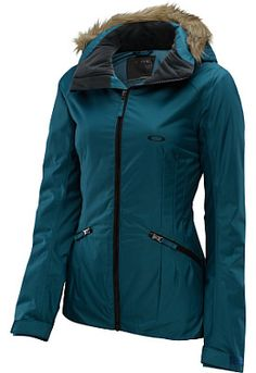 OAKLEY Women's Foxglove Jacket in teal green with fur collar.   http://www.sportsauthority.com/product/index.jsp?productId=20206216&view=grid