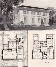 """""""Suggestive of the Farnese Palace in Rome, this house offers off the necessary simplicity and dignity of a handsome private residence."""" This simple house had 12 rooms and cost a bundle to build; in 1916, the estimate was between $8000 and $9000."""