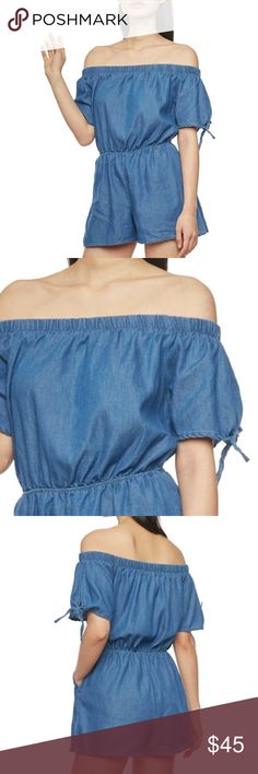 Off The Shoulder Denim Chambray Medium Wash Romper New Off The Shoulder Short Sleeve Denim Chambray Medium Wash Romper. Runs true to size. Model is wearing a small. Bundle and get 20% off! Pants Jumpsuits & Rompers