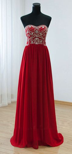 Red Chiffon Beaded Strapless Floor Length Prom Dress