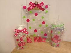 Gift set: Personalized with name acrylic clipboard, acrylic tumbler and hand sanitizer, any design, teachers, coaches, students